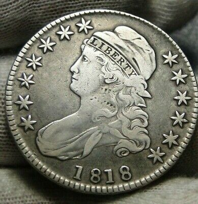 1818 Capped Bust Half Dollar 50 Cents -  Nice Coin, Free Shipping (9166)