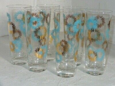 Set of 6 Mid Century Modern MCM Atomic Starburst Retro Style Tall Water Glasses