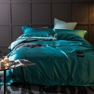 White Grey Green Brief Style King Queen Sz 4Pcs Bedding Se Soft Satin Bedclothes