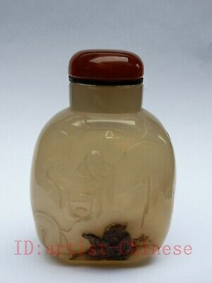 Collection Old Chinese Natural Agate Hand Carving Landscape Figure Snuff Bottle