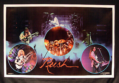 Vintage 1979 RUSH Live Poster Huge 35 x 23 Geddy Lee Neil Peart Cat Productions