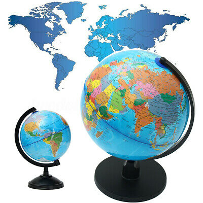 25cm Rotating World Globe Earth Geography Science Desk Decor Office Kids Gift