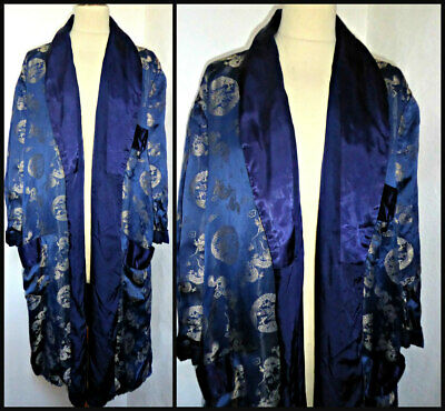 Vintage Silver Dragons Chinese Silk Robe Smoking Jacket Dressing Gown M 44""