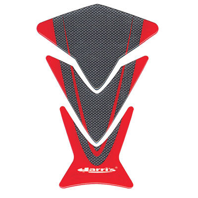 Universal Harris Puzzle Motorcycle Gel Tank Pad Protector Ariete Carbon & Red