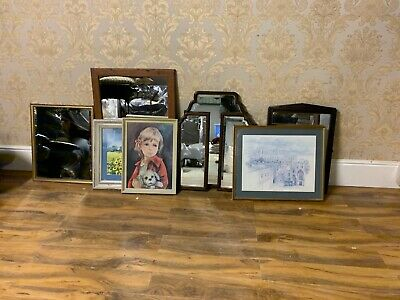 Job lot of various vintage / modern & antique mirrors & pictures