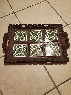 Rustic Hand Carved Wood an Tile Mexican Serving Tray with Handles