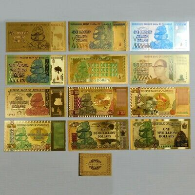 Zimbabwe 8 Pieces Gold Foil Banknote 100 Quintillion to Dumillillion Trillion