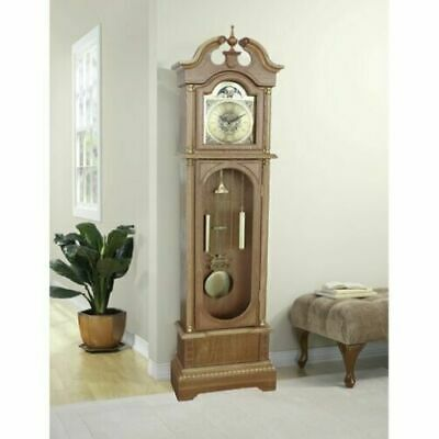 Traditional Grandfather Clock Antique Vintage Longcase Solid Wood Case Art Deco