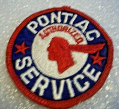Original Vintage Embroidered,Pontiac Dealer Service Patch, Red-White-Blue