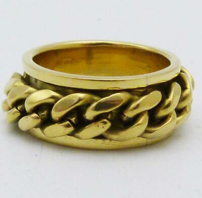Vintage Chinese Silver Gilt Articulated Rope Twist Ring, Size P