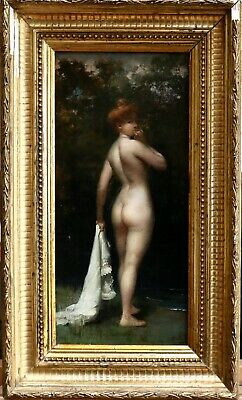 Alphonse Pellet (1853-1926) Superb French Oil On Panel - Nude Bather By River