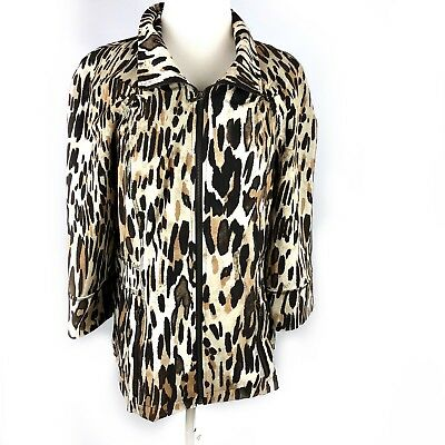 Chicos 2 Zenergy Jacket Large Leopard Print Brown Black Stretch Animal Print