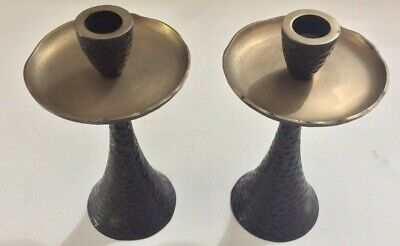 Arts & Crafts Hammered Bronze Candle Holders