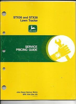John Deere STX30 and STX38 Lawn Tractor Service Pricing Guide SPG 1034