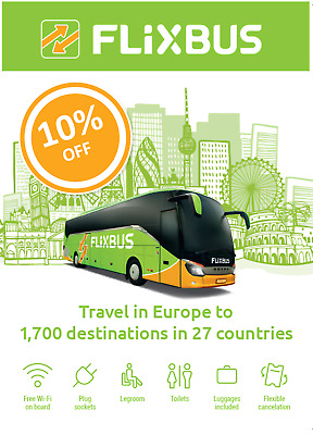 Flixbus 2X10% discount voucher/coupon. Valid until 31/03/20.