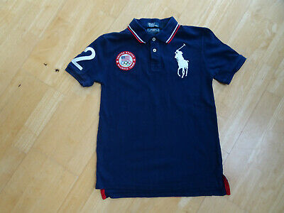RALPH LAUREN POLO boys navy US ENGLAND olympic team t shirt AGE 10 - 11 YEARS