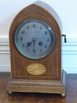 Antique French Mahogany Inlaid Lancet Mantle Clock with Brass Key circa 1900