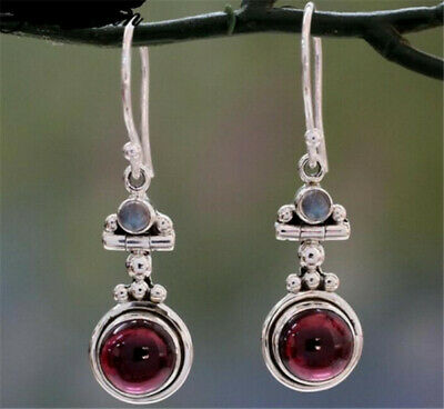 Women's fashion silver dark red round Turquoise Pendant Earrings Wedding Jewelry