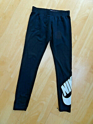 NIKE girls black print leggings AGE 10 - 11 YEARS ( 10 - 12 ) EXCELLENT COND