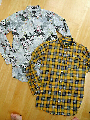 RIVER ISLAND boys 2 PACK long sleeve shirts floral check AGE 11 - 12 YEARS