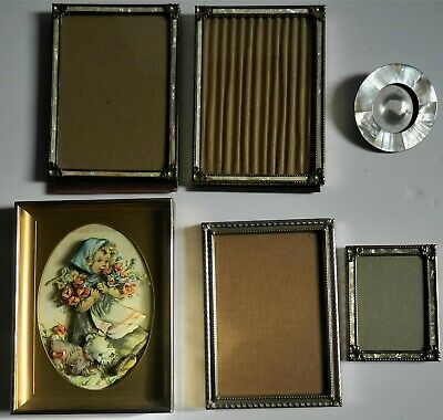 Vintage Ornate Metal Picture Frame LOT Faux Mother of Pearl 5x7 and smaller