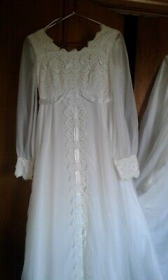 Vintage 1973 Lace and Silk Wedding Dress