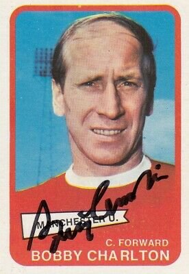 Hand Signed A & Bc 1968 Trading Card : Bobby Charlton - Man United