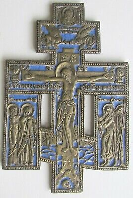 ANTIQUE 19th century RUSSIAN BRONZE ENAMEL CRUCIFIX ICON cross