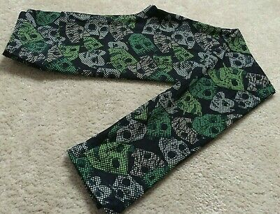 Lularoe Tween Leggings Halloween Masks Dracula Frankenstein Green Black