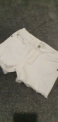 Girls Bluezoo White Frayed Denim Shorts Age 7 Bnwot