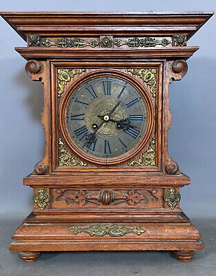 19thC Antique VICTORIAN Era BRASS ORMOLU & WOOD Gothic GONG Chime MANTEL CLOCK