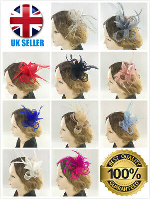 New Eloise Ladies Feather Hair Fascinator Clip Wedding Royal Ascot Races Bespoke
