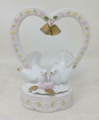 Vintage Lefton China Hand Painted Cake Topper Kissing Dove Love Bird 05190 (710)