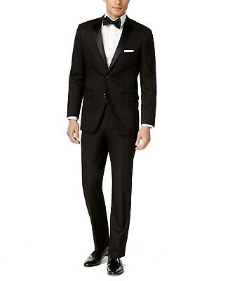 Perry Ellis Mens Suits Deep Black Size 44R Slim-Fit Notch-Lapel Tuxedo $425- 881