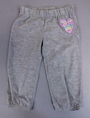 SO Girl's Polyester Pull On Heart Print Elastic Hem Joggers SH3 Grey Size 4