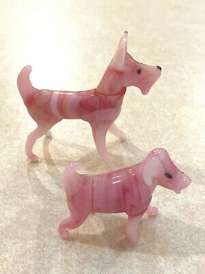 TWO Vintage Miniature pink and white stone or glass dogs