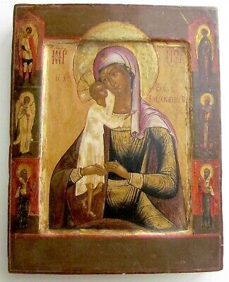 RUSSIAN ICON SEEKING OF THE LOST VIRGIN w/ SAINTS ANTIQUE 19th century RARE