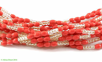 15 Strands Seed Trade Beads Red Rice Molded African