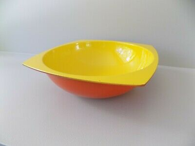 vtg MID CENTURY MODERN MOD ORANGE AND YELLOW PLASTIC BOWL