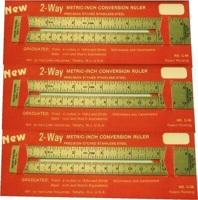 3 Vintage 2 Way Pocket Rulers  New Old Stock  Vari-Line Industries Tenafly,N.J.