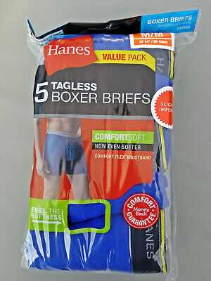 Hanes 5 Pack Men's Underwear Tagless Boxer Briefs Assorted/Solid Colors & Bands