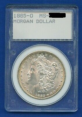 1885 O Morgan Dollar $1 Silver US Mint - Rare Vintage WMP Rattler Style Holder