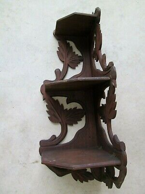 "wood shelf Black Forest 24"" curio Victorian 3 Tier Corner vintage antique"