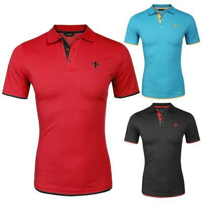 Men Fashion Casual Turn Down Collar Short Sleeve Slim Fit Contrast Color B98B 06