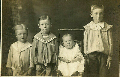 Antique Photo Cabinet Card BEAUTIFUL LITTLE KIDS BOYS BABY FASHION