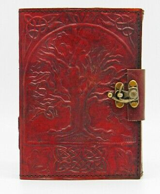 Tree of Life 240 Page Embossed Leather Journal with Metal Lock 5x7 Inch Diary