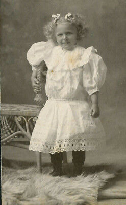 Antique Vintage Photo Cabinet Card CUTE LITTLE GIRL FASHION