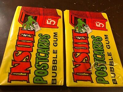 Lot Of (2) 1966 Topps Monsters Insult Unopened Wax Packs  *Very Clean*