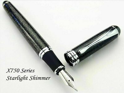 Jinhao X750 Starlight Shimmer Fountain Pen 0.7mm Broad Nib 18KGP Silver Trim