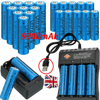 Rechargeable 9900mAh 18650 Battery Li-ion Lithium 3.7V With Charger Cell UK `